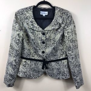 Danny and Nicole jacket. Belted. Black and silver
